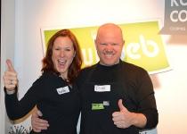 Entertainers Katrin en Pim tijdens een bedrijfsuitje van Smink Transport