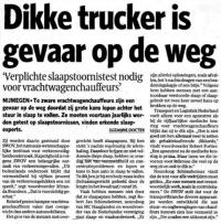 Transport / logistiek & gezond eten - Dikke trucker is gevaar op de weg. Artikel in het Algemeen Dagblad op 23 maart 2010